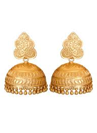 gold earrings jhumka design roopa vohra gorgeous gold plated jhumkas shop earrings at
