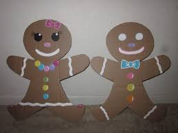gingerbread men woman made out of cardboard party ideas