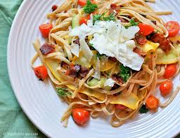 bacon ribbon zucchini ribbon pasta with tomatoes and bacon guest post by
