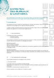 protocole nettoyage bureau entretien des bureaux sanitaires pdf