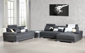 contemporary grey leather sectional sofa w ottoman