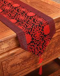 short length chinese knot patchwork table runner silk brocade