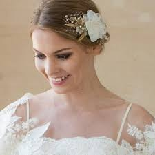 floral hair accessories gold flower hair wedding floral hair ivory hair