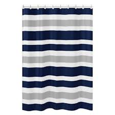 Blue And White Striped Drapes Buy Grey And White Striped Curtains From Bed Bath U0026 Beyond