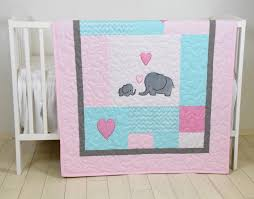 elephant baby quilt mint gray pink crib bedding mint chevron