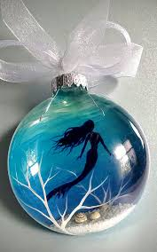 mermaid ornament painted glass blue aquatic