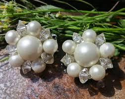 pearl clip on earrings pearl clip earrings etsy