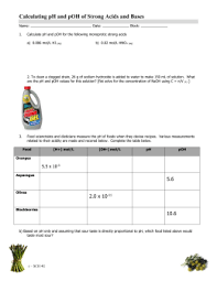 Ph Worksheet Chemistry 12 Ph Worksheet