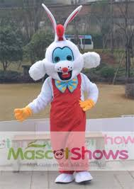 Bunny Halloween Costume Kids Quality Roger Rabbit Mascot Costume Foam Head Mascot