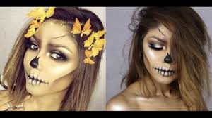 Skeleton Halloween Makeup easy skull halloween 2016 using only makeup youtube