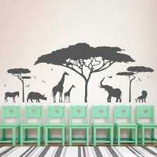 compare prices on wall stickers trees online shopping buy low african safari animal wall sticker tree wall decal nature giraffe wall art nursery decor china