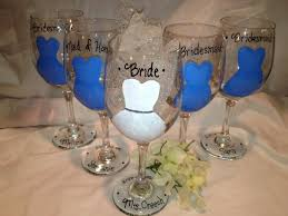 wine glass party favor wedding glasses painted bridal party glasses bridesmaid