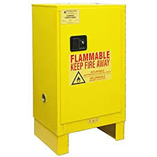 Yellow Flammable Storage Cabinet 35 H X 23 W X 18 D Compact Flammable Safety Storage