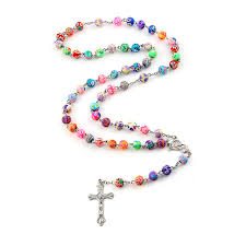 bead necklace with cross images 8mm colorful polymer clay bead rosary pendant necklace alloy cross jpg