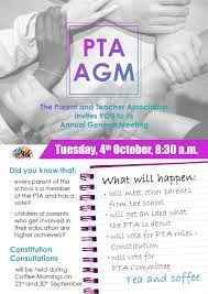pta meeting invitation parent teacher association powerstown educate together national