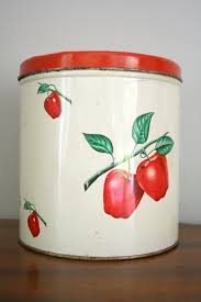 apple canisters for the kitchen 50s large apple canister tin farmhouse kitchen decor by oldgrowth