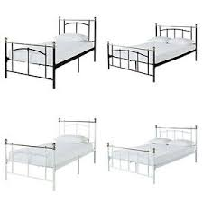 home yani metal bed frame choice of white black and single