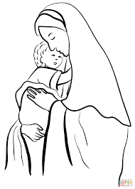 mother mary holding child jesus coloring page free printable