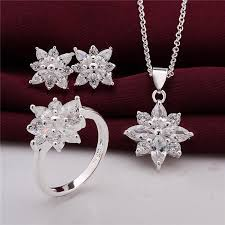beautiful ear rings 925 sterling silver jewelry set beautiful flower pendant necklace