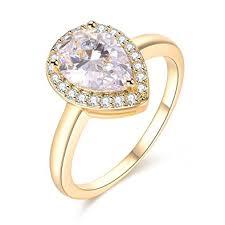 teardrop engagement rings dnswez teardrop pear cut cz cubic zirconia promise