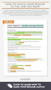 How To Make A Talent Resume Infographic Matching Your Resume To The Job You Want Careerbuilder