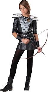 Womens Hunter Halloween Costume Teen Girls Midnight Huntress Costume Hunger Games Teen Girls