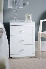White Bedside Table Lucia 3 Drawer White Glass Bedside With Handles My Furniture