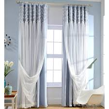 White Darkening Curtains Blue Blackout Fabric And White Lace Curtain