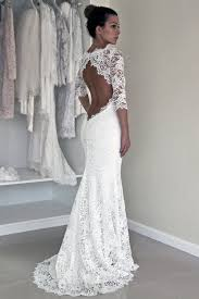 affordable bridal gowns sleeve lace open back mermaid wedding dresses 2017