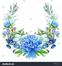 white and blue floral arrangements blue floral arrangement isolated on white stock illustration