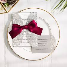wedding invitations with ribbon burgundy and gray laser cut wedding invitations swws043 stylishwedd