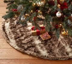 brown tree skirt caramel ombre faux fur treeskirt pottery barn