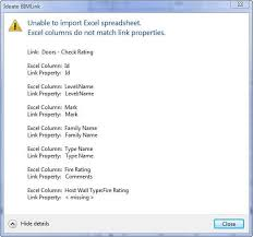Host Excel Spreadsheet Learn More About Ideate Bimlink Error And Warning Messages
