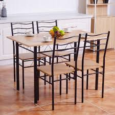 breakfast table with 4 chairs goplus 5 piece dining table set with 4 chairs wood metal kitchen