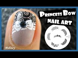 princess bow french tip stamping nail art design tutorial for