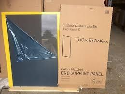 grey kitchen cabinets b q b q kitchen cabinet clad on base panel anthracite grey gloss 570mm x 870mm ebay