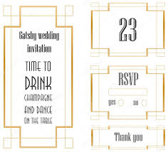 white art deco frame for wedding invitation set u2014 stock vector