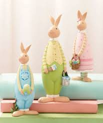 easter rabbits decorations 3 easter bunnies figurine set whimsical