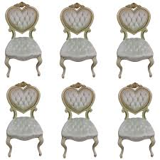six tufted hollywood regency heart dining chairs by kimball for