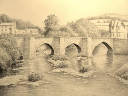 landscape graphite pencil drawing llangollen bridge wales youtube