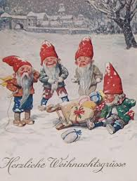 vintage christmas card elves with sled and toys