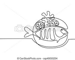 clipart vector of grilled fish on plate with lemon and potato