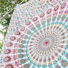 Home Decor Wall Hangings White Mandala Tapestry Twin Wall Hanging Hippie Bedding Bohemian