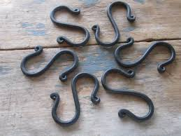 set of 6 hand forged s hooks pot rack hooks blacksmith made