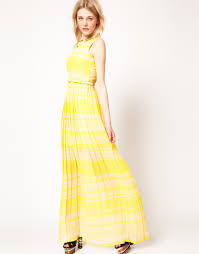 french connection french connection stripe maxi dress in yellow lyst