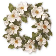 artificial valley spruce magnolia wreath white 24 national