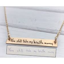 engrave a necklace handwritten jewelry horizontal bar necklace personalized
