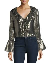 metallic blouse elliott sleeve v metallic blouse w