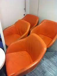 Orange Armchair Faux Leather Orange Armchair With Metal Legs On Reyooz Com