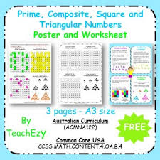 prime composite square and triangular numbers poster u0026 worksheet